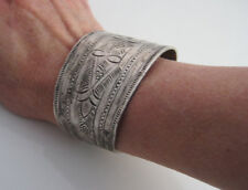 Vintage North African Berber Wide Bracelets Cuffs Pair Silver