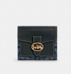 NWT Coach Georgie Small Wallet In Signature Chambray