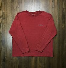 MEN's Columbia Red Long Sleeve T Shirt L/S Embroidered Spell Out Logo Rare