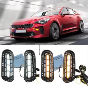 For KIA Stinger 2018 2019 2020 LED Front Bumper Fog Lights/Turn Signals 2pcs