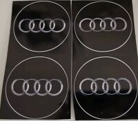 Audi Ringe SilberGrau Metallic Schwarz Aufkleber 4 X 5.6cm(56mm) Wasserdicht