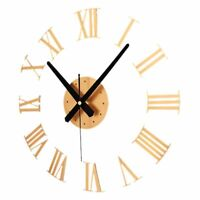 Large Wall Clock 3d Roman Numerals Diy Watch Big Decal Home Sticker Mirror Decor