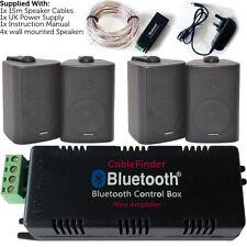 Wireless/Bluetooth Amplifier & 4x 60W Black Wall Mounted Speakers – Amp System