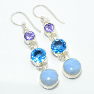 "Namibian Blue Lace Agate & Blue Topaz 925 Sterling Silver Earring 2.03"" W3191"