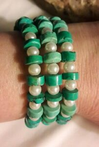 Artisan Faux Pearl Turquoise Gemstone Coil Bracelet Size Small 6