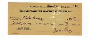 Zane Grey signed Bank Check