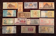 Lot Of 15 World Banknotes. All Different. All Unc. All Genuine