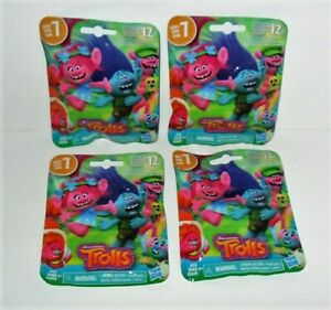 DREAMWORKS TROLLS SERIES 7 MINI FIGURE LOT OF (4) RANDOM BLIND BAGS FROM HASBRO