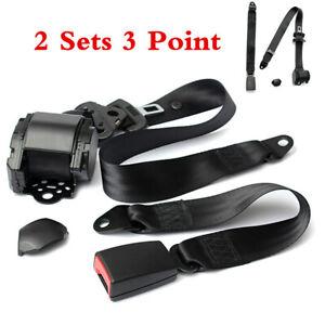 Pair Retractable 3 Point Auto Car Seat & Belt Lap Universal Seatbelt Adjustable