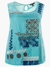 Womens Sleeveless Blouse Size 22/24 26/28 Ulla Popken Embroidered Vest Top 200
