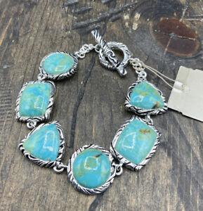Barse Jacquard Toggle Bracelet-Turquoise- Silver Overlay- NWT