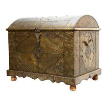 Orientalische Truhe Messing moroccan treasure chest Coffre en laiton Full wood