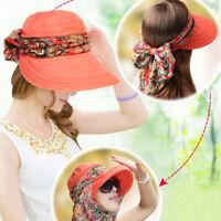 Women's Anti-UV Fashion Hats Wide Brim Summer Beach Cotton Sun Hat Cap Fold