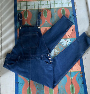Ladies Indigo Blue Denim Stretch Dungarees UK 18 Large L