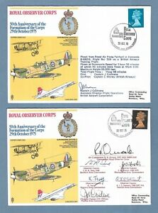 TWO 1975 RAF SIGNED COVERS - ROYAL OBSERVER CORPS - SPITFIRE & CONCORDE FLOWN.