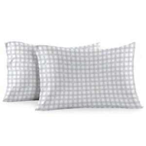 Heavyweight Printed Flannel Pillowcase Sets (Pair) - Gray Check