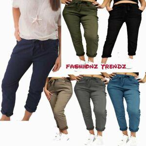 Ladies Italian Stretch Denim Magic Pants Trousers Joggers Regular And Plus Size