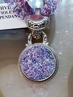 Ash Violet Drusy & 925 Sterling Silver Pendant