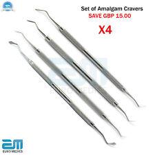 DENTAL AMALGAM & WAX CARVERS Amalgam Flat Cavity Restorative Tools PACK OF 4