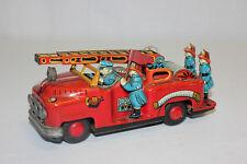 Vintage Nomura TN Japan Tin Litho Friction Fire Ladder Truck w/Driver VG L@@K