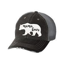 Mama Bear Distressed Glitter Ladies Trucker Hat - Baseball Cap - Mom Life