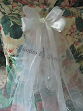 First Communion/Flower Girl  White Satin Bow with Pearl Center w/Sewn Edge Veil