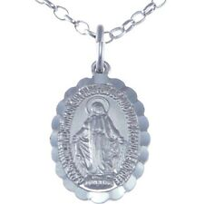 "FRILLED STERLING SILVER MIRACULOUS MARY MEDAL -  MADONNA PENDANT WITH 18"" CHAIN"