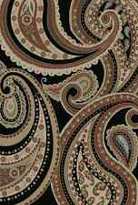 8X10 Area Rug Deco Paisley Black Beige Blue Cute Chic Flower Modern New Large