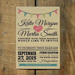 Vintage Bunting Kraft - Rustic Wedding Invitation Set and save the date