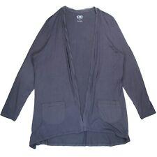LOGO Lori Goldstein XL Knit Cardigan with Rolled Chiffon Trim Purple Tunic