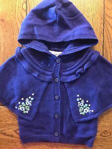 Janie and Jack Enchanted Garden Hooded Cardigan Girls Sweater EUC Sz 6-12 Months