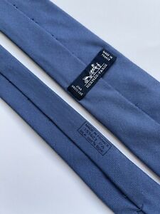 Tie hermes 153623 PA Silk 100% Authentic 100% Made In France Blue