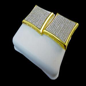YELLOW GOLD FINISH BIG BOLD 18 MM  MEN'S KITE SQUARE LAB DIAMOND STUD EARRINGS
