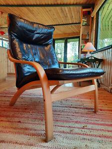 Armchair Lounge Chair Retro Leather Vintage 60er Easy Danish Westnofa Era 70er