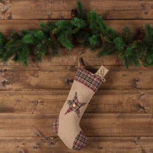 "VHC Brands Rustic 12""x20"" Star Stocking Tan Christmas Fabric Loop Holiday Decor"