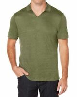New Mens Perry Ellis Thyme Solid 100% Linen Open Collar Polo Shirt MSRP$59 OCFO