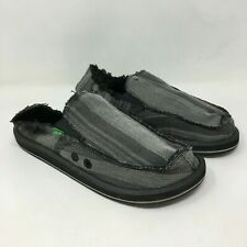 SANUK Men's Vagabonded Slip-on Stripe Pattern Loafers in Grey size: 8 US