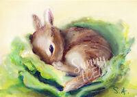 ACEO wildlife art baby bunnies bunny rabbit animal ATC cabbage print of painting