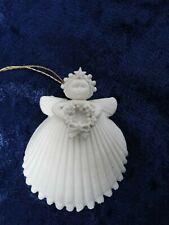 "1995 Margaret Furlong Bisque Porcelain Shell Angel Holding A Wreath 2 1/2"" h"