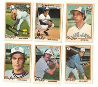 LOT OF 6 TORONTO BLUE JAYS BASEBALL CARDS - JERRY GARVIN 1978