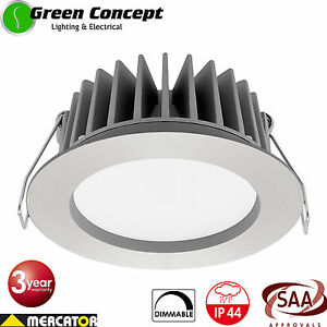 NEW 4 x 12W Dimmable LED Downlight Kit Hi Output MERCATOR OPTICA SILVER MD492S
