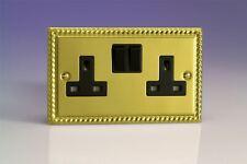 Varilight 2 Gang 13 Amp Electrical Plug Socket Georgian Brass Black Insert