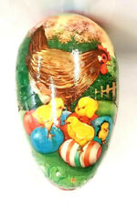 """Vintage German 5 1/2"""" Rooster, Chick Paper Mache Easter Egg Candy Container"""