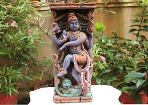 Antique Nataraja Wall Panel Dancing Shiva Statue Wooden Sculpture Figurine Rare