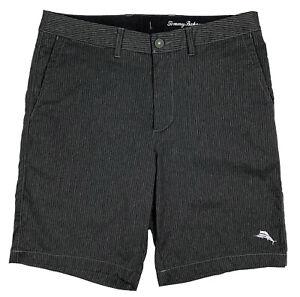 Men's TOMMY BAHAMA Gray Black Striped Amphibious Shorts / Swim Trunks 32 NWT NEW