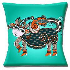 "UKRANIAN ETHNIC TRIBAL FOLK ART ANIMAL JADE GREEN MULTI 16"" Pillow Cushion Cover"
