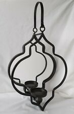 Large Black Metal & Mirror Wall Sconce Hanging Candle Holder #2