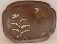RARE COPPER & STERLING GORHAM AESTHETIC MIXED METALS TRAY CRAB LOTUS FROG 1881