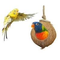 Coconut Shell Bird Nest House Hut Cage Feeder Pet Parrot Toy Nest Parakeet F5V8