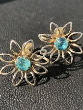 Gorgeous Turquoise Blue Rhinestone Goldtone Flower Vintage Earrings